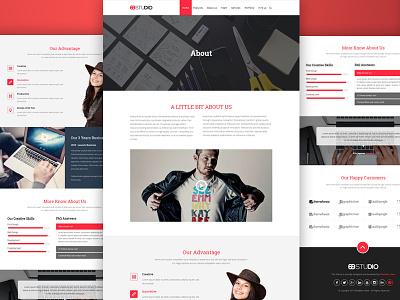 About Us Page portfolio trendytheme template psd web design wire-frame interface ui kit player ux ui kit