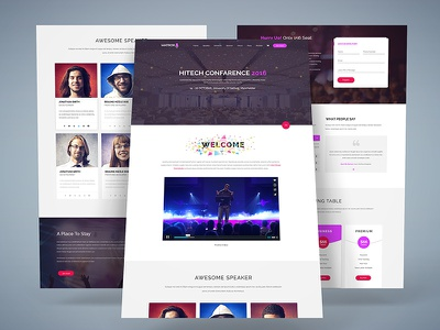 Matrox Material Design Event Landing Page booking landing page matrox onepage event event landing page material design meetup conference