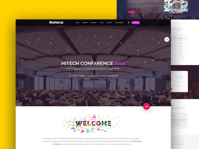 Attend Conference & Event Template webinar speakers seminar meeting landing political events events corporate event convention conference business meetup