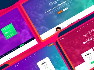 Event Page landing page event one page table gif colors header team schedule
