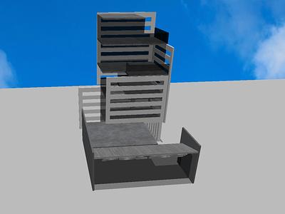 Industrial-style Police Department render 3dmodel 3d architecture rendering modern industrial architecture vector illustration minimal graphic design design art