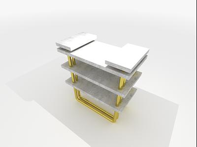 /stone/ bedside table stone gold brutalism interior design product design industrial vector illustration minimal graphic design design art
