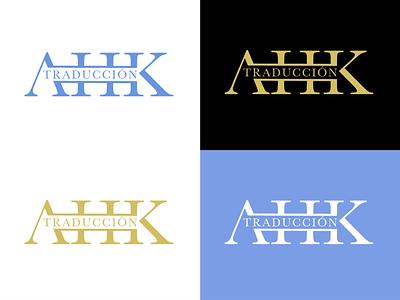 AHK Traducción Logo lettermark word mark monogram translator logo design logo branding vector illustration minimal graphic design design art