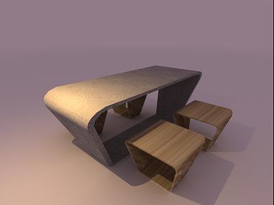 /loop/ dinner table and stools 3drender 3dmodel interior design interiorism furniture vector illustration minimal graphic design design art