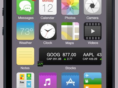 iOS 7 Reimagined ios7 ios 7 iphone flat matte widget widgets