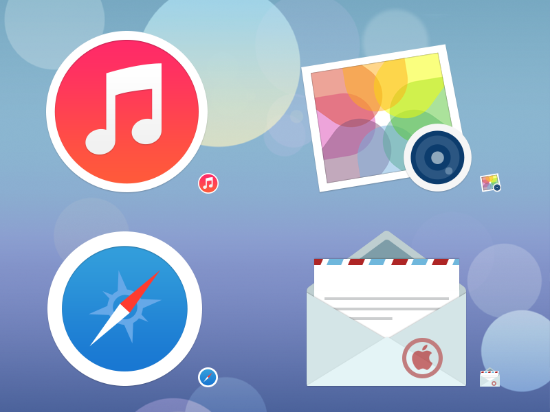 Sevenesque - An iOS7-inspired Mac icon set retina mac icon icons replacement set ios7 ios 7 flat matte itunes