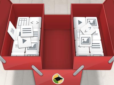 Toolbox tool box red metal knobs