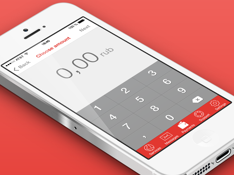 Client work (iOS 7 app) ttk ios7 ios 7 ios 7 red payment flat pay amount