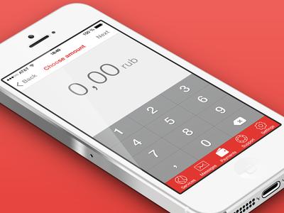 Client work (iOS 7 app) ttk ios7 ios 7 ios 7 red payment flat pay amount
