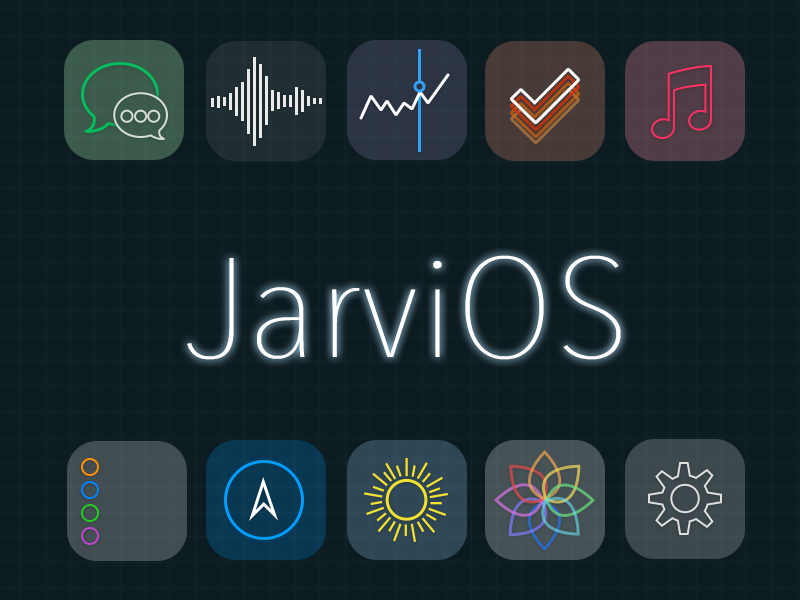 JarviOS - An Iron Man inspired iOS theme ios 7 ios7 theme winterboard jailbreak icons transparent