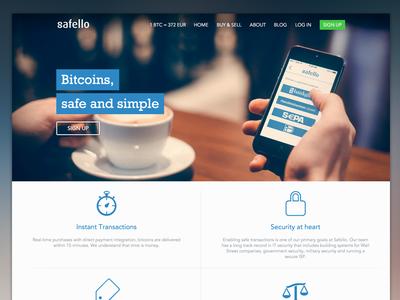 Safello Redesign safello bitcoin bitcoins btc bank web website desktop