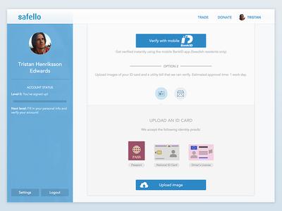 Safello Verification safello bitcoin btc crypto profile account