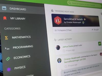 Course Dashboard edtech lessons education activity trending menu categories