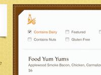 iPad Menu - Ingredients Filter