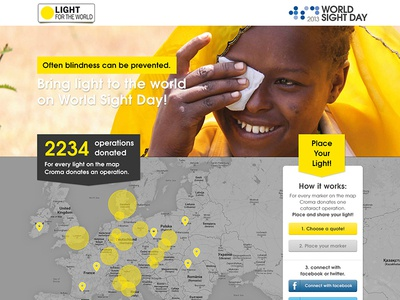 Worldsightday Dribble V2 ui design non-profit yellow grey map webdesign website.