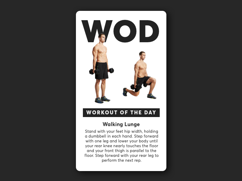 Daily UI challenge #062 — Workout of the Day dailyui