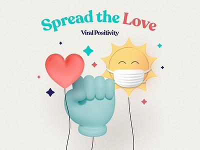 Viral Positivity Branding brand identity positivity sun glove virus uplifting cute 3d art covid-19 covid chill character illustration design branding