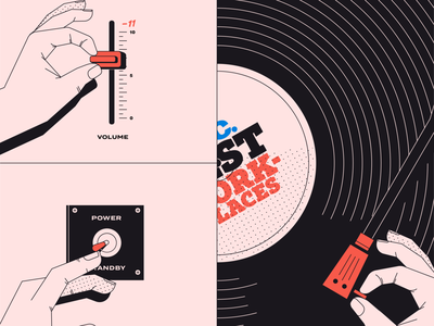 How the turn tables... music volume speakers vinyl record vinyl record retro black red illustration design