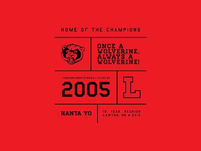 High School Reunion T-Shirt Design 10-year reunion red t-shirt 2005 wolverine vector illustration