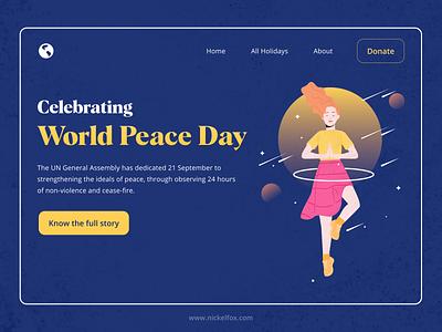 UN World Peace Day Website Concept un typography web design texture blue web design ux world peace day illustration illus website ui peace