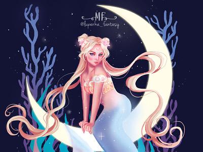 Tarot Mermay XVIII: The Moon concept art card design character design illustration art illustration fantasy art digital painting digital illustrator fantasyart
