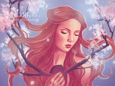 Blossoming character flowers design book cover design illustration art illustration fantasy art fantasyart digital painting digital illustrator