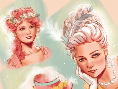 Marie Antoinette Sketches figurative art photoshop sketch illustration art illustration digital painting digital illustrator