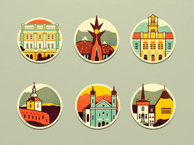 Hometown Icons  city hungarian mountain illustration print design embelm center adline brassai szende icon icons building town home hometown castle saint george church tower museum culture transylvania saint george székely land sepsi screen print badge