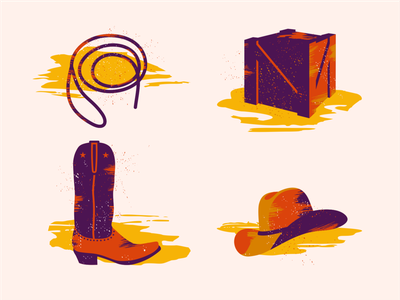 Western Illys ... [wip - project] vector illustration hat wooden crate lasso westworld boot cowboy west western