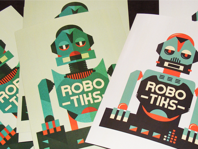 Robotiks - postcard adline brassai szende print desing illustration robot dj music electro electroclash future synth postcard