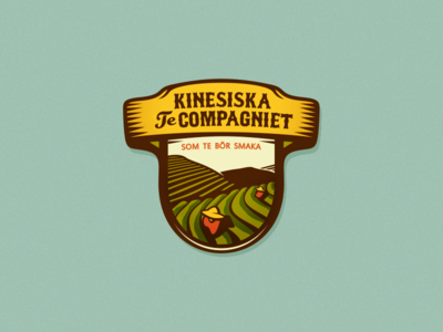 Kinesiska Te Compagniet (Chinese Tea Company - #1) logo design brassai szende logo badge emblem tea chinese sweden traditional tea fields ecological