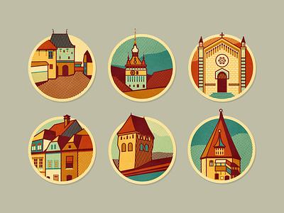 Schäsbrich/Schäßburg - icons print design historic transylvania adline brassai szende schäßburg icons city building middle ages badge