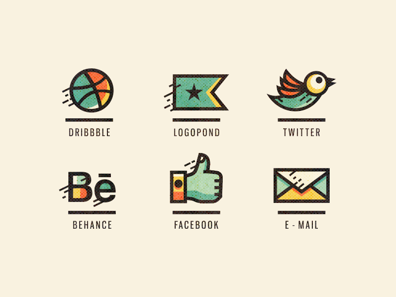 Adline / Social icons (Retouched) media adline brassai personal icons icon design customized social social icons mail twitter behance