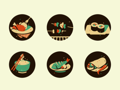 Food Icons (wip) adline icons food brassai meat fish sushi noodles pepper
