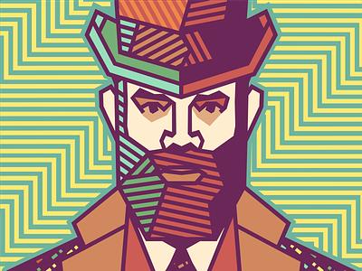 Rameet Chawla - Gentleman [portrait & pattern] chromoluminarism primary radiaton corrugate adline brassai szende illustration gentleman vector