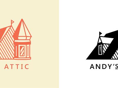 Andy's Attic [#2] logo design logo corrugate primary chromoluminarism radiaton adline brassai szende house fun victorian