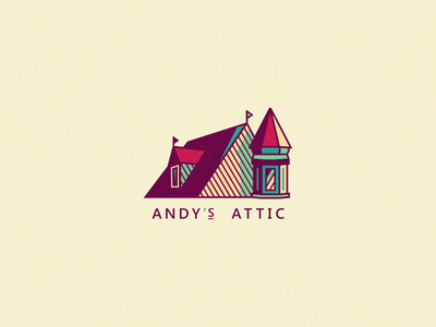 Andy's Attic [Final version] logo design logo radiaton chromoluminarism primary brassai szende house fun creative victorian