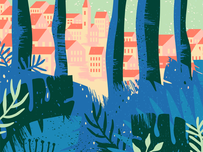 Illustration [wip] wood tree town sea plant nature leaf forest bush building