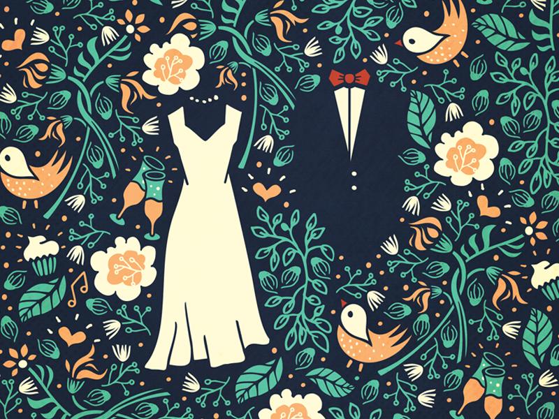Pattern for a wedding invitation [wip] bird bride adline brassai szende pattern invitation groom flower wedding print garden