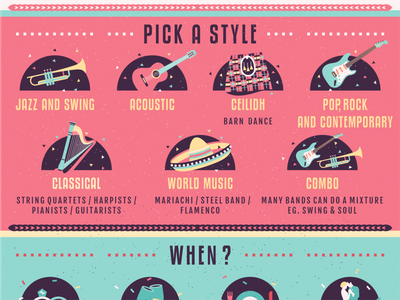 Wedding Music Guide - infographic design contemporary classic jazz style guide dance information design infographic music wedding