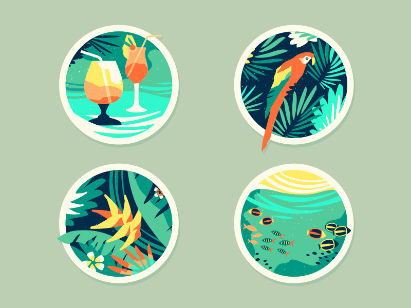 Tropical [Icons] nature exotic icon design brassai icons summer tropical sun sea cocktails icon badge