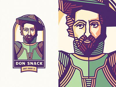 """Don Snack"" [Mascot - Final] chromoluminarism medieval radiaton szende corrugate adline brassai emblem logo mascot branding gentleman"