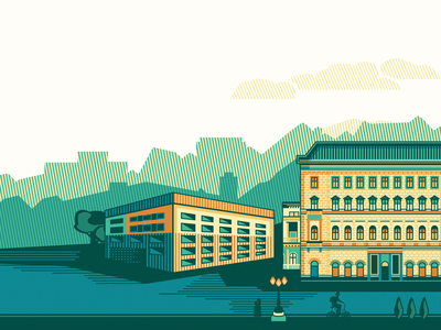 Illustration for költözzbe.hu [Final Version] adline brassai chromoluminarism corrugate building house budapest header illustration center city radiaton