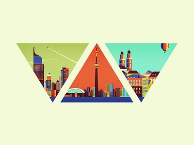 """Triangle Cities - 2015"" [wip] jakarta toronto adline city 2015 metropolis brassai triangle skyscrapers building hot-air balloon zurich"