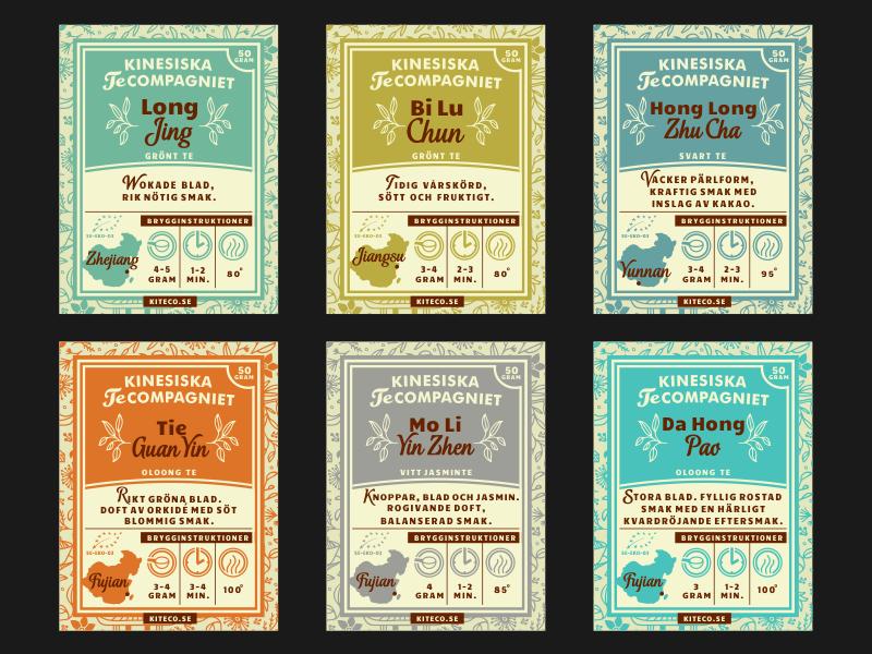 Tea Labels for Zip bags [Kinesiska Te Compagniet] adline brassai print label tea china swedish pattern