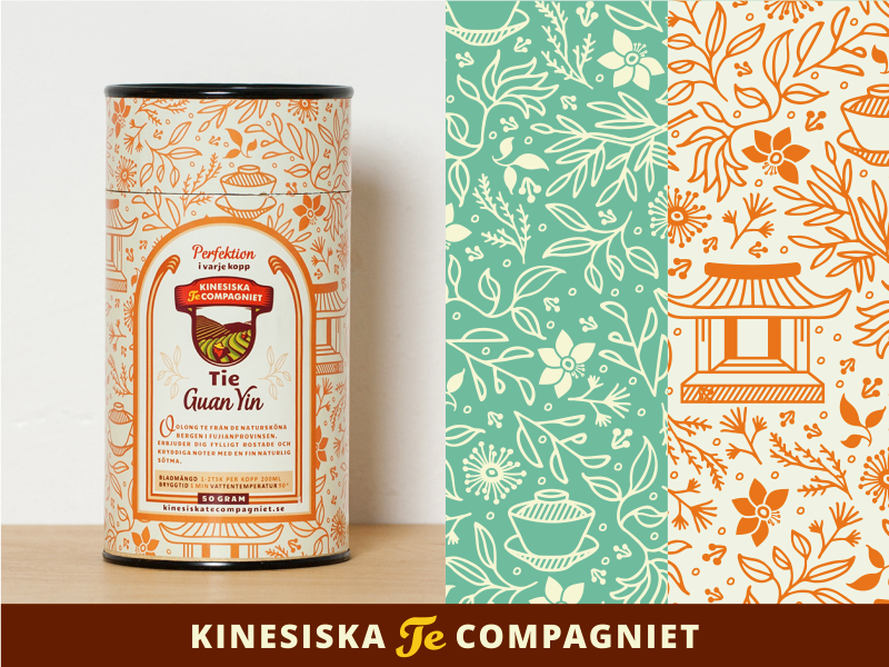 Tea Labels for cans [Kinesiska Te Compagniet] tea package package design package adline brassai label pattern print print design can