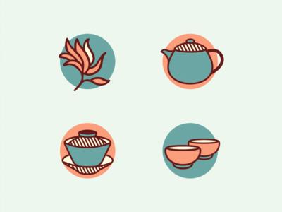 Icons [Kinesiska Te Compagniet] flowerin tea label teacup teapot china tea gaiwan icon brassai adline