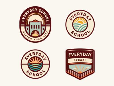 Everyday School [logo concepts - still in progress] logo design logo badge vintage adline learning day sun school brassai