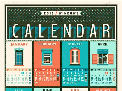 Calendar - 2016 / Windows adline print day week month 2016 window calendar szende brassa