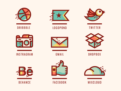 Social Icons [ Extended ] facebook twitter instragram dropbox dribbble social icon icon social brassai adline